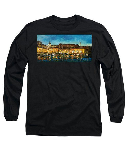 Night In Dubrovnik Harbour Long Sleeve T-Shirt