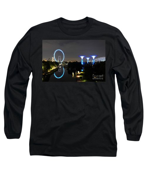 Night Shot Of Singapore Flyer Gardens By The Bay And Water Reflections Long Sleeve T-Shirt by Imran Ahmed