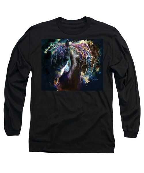 Long Sleeve T-Shirt featuring the painting Night Stallion by Sherry Shipley