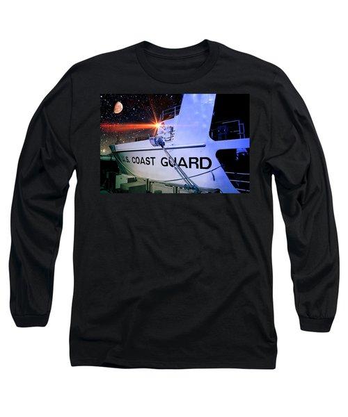Long Sleeve T-Shirt featuring the digital art Night Watch Us Coast Guard by Aaron Berg