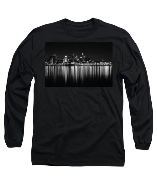 Nightfall In Philly B/w Long Sleeve T-Shirt