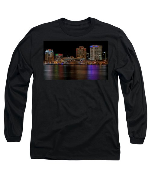 Norfolk Virginia Skyline Long Sleeve T-Shirt by Jerry Gammon