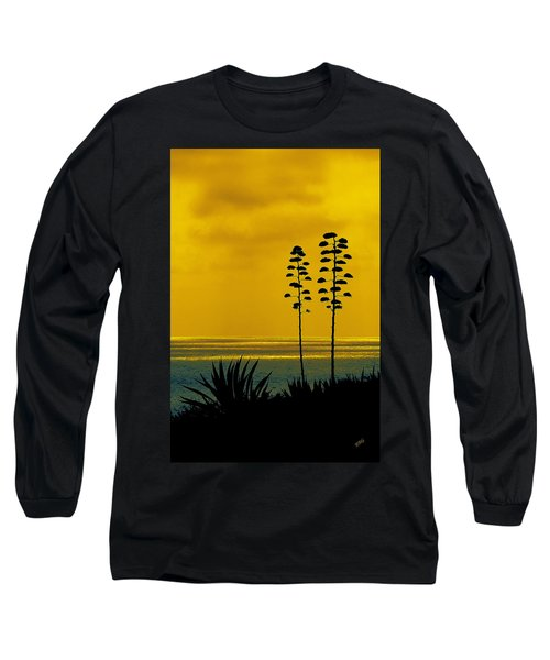 Ocean Sunset With Agave Silhouette Long Sleeve T-Shirt