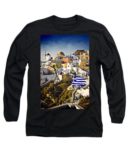Long Sleeve T-Shirt featuring the photograph Oia And A Greek Flag by Meirion Matthias
