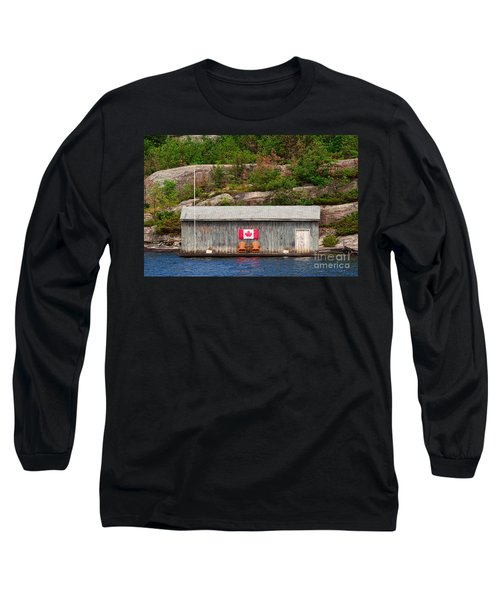 Old Boathouse With Two Muskoka Chairs Long Sleeve T-Shirt by Les Palenik