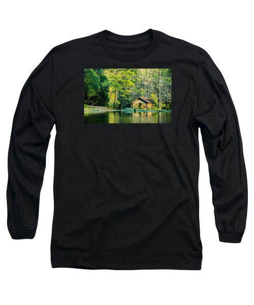 Old Cabin By The Pond Long Sleeve T-Shirt by Parker Cunningham