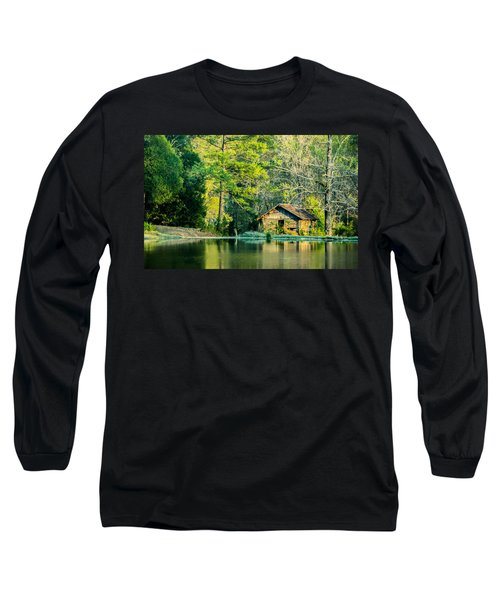 Old Cabin By The Pond Long Sleeve T-Shirt