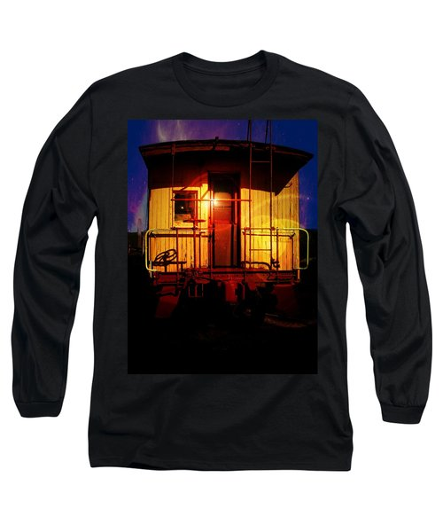 Long Sleeve T-Shirt featuring the photograph Old Caboose  by Aaron Berg