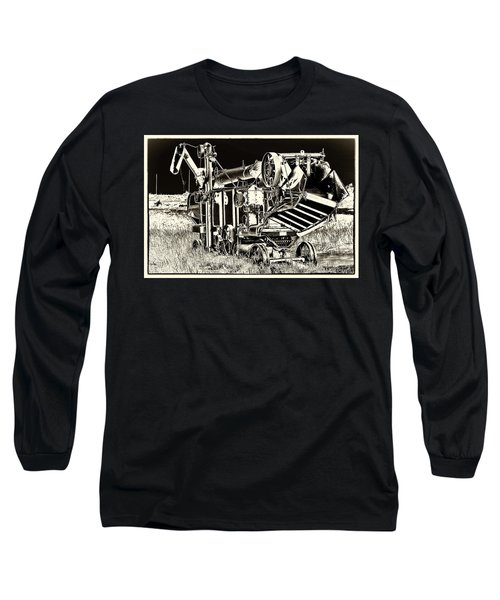 Old Case Thresher - Black And White Long Sleeve T-Shirt