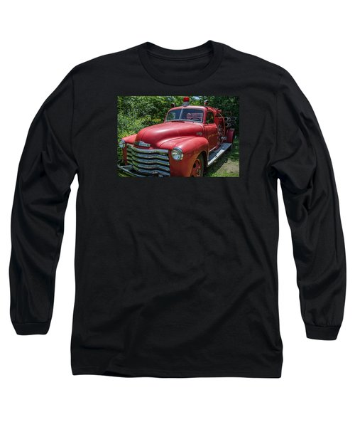 Old Chevy Fire Engine Long Sleeve T-Shirt by Susan  McMenamin