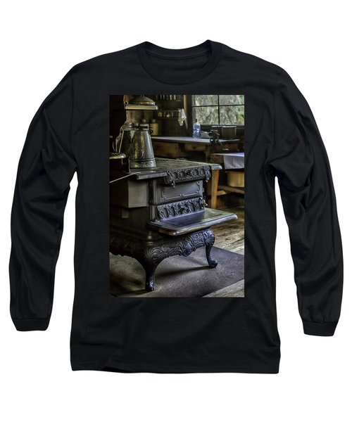 Old Farm Kitchen And Wood Burning Stove Long Sleeve T-Shirt by Lynn Palmer