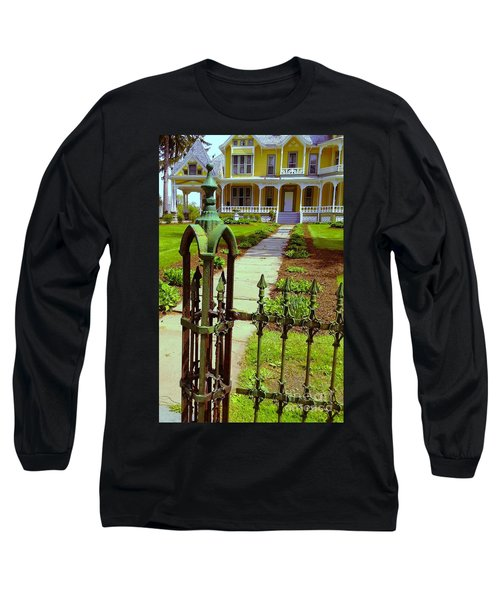 Long Sleeve T-Shirt featuring the photograph Old Green Wrought Iron Gate by Becky Lupe