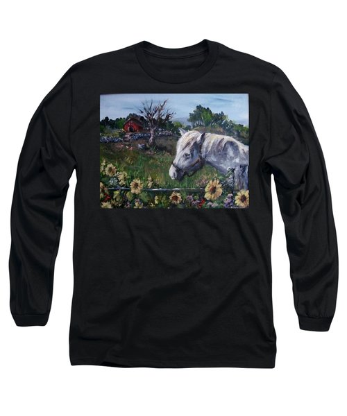 Long Sleeve T-Shirt featuring the painting Old Grey Mare by Megan Walsh