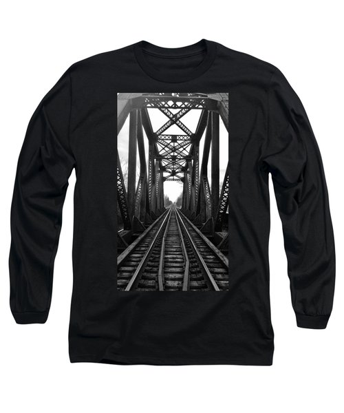 Old Huron River Rxr Bridge Black And White  Long Sleeve T-Shirt