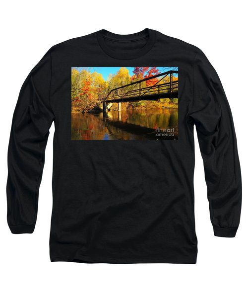 Long Sleeve T-Shirt featuring the photograph Historic Harvey Bridge Over Manistee River In Wexford County Michigan by Terri Gostola