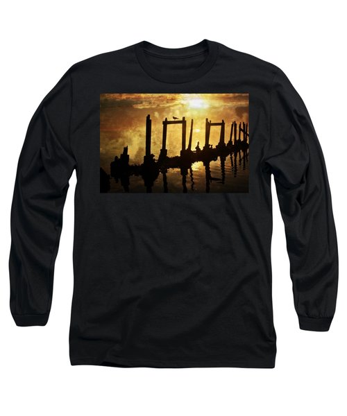 Long Sleeve T-Shirt featuring the photograph Old Pier At Sunset by Marty Koch