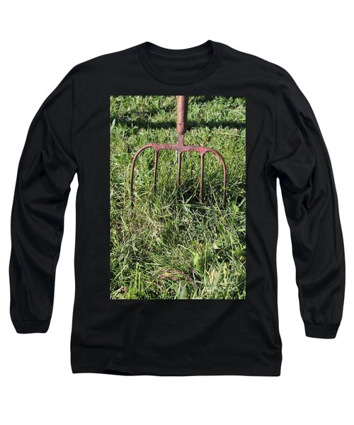 Long Sleeve T-Shirt featuring the photograph Old Pitch Fork by Ann E Robson