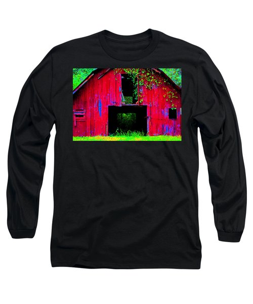 Long Sleeve T-Shirt featuring the photograph Old Red Barn Iv by Lanita Williams