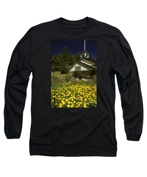 Old Schoolhouse And Garden. Long Sleeve T-Shirt