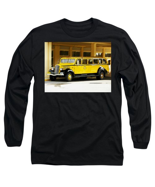 Old Time Yellowstone Bus Long Sleeve T-Shirt by David Lawson
