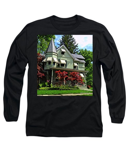 Long Sleeve T-Shirt featuring the photograph Old Victorian With Awnings by Becky Lupe