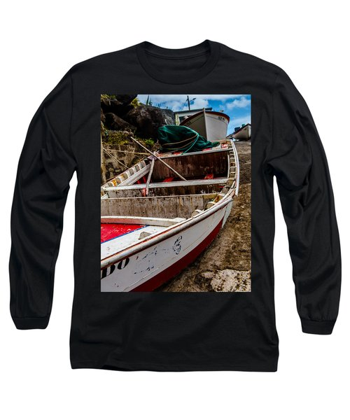 Old Wooden Fishing Boat On Dock  Long Sleeve T-Shirt