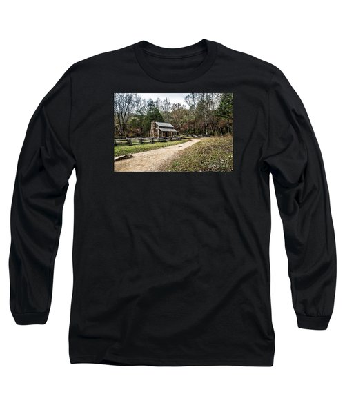 Long Sleeve T-Shirt featuring the photograph Oliver's Log Cabin by Debbie Green
