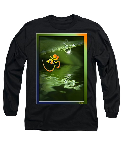 Long Sleeve T-Shirt featuring the mixed media Om On Green With Dew Drop by Peter v Quenter