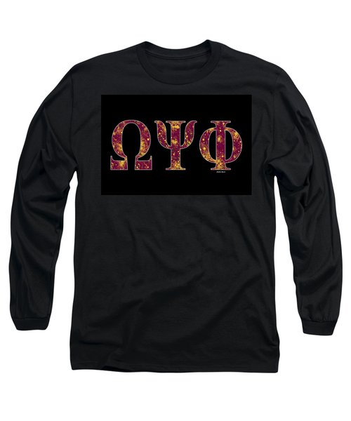 Long Sleeve T-Shirt featuring the digital art Omega Psi Phi - Black by Stephen Younts