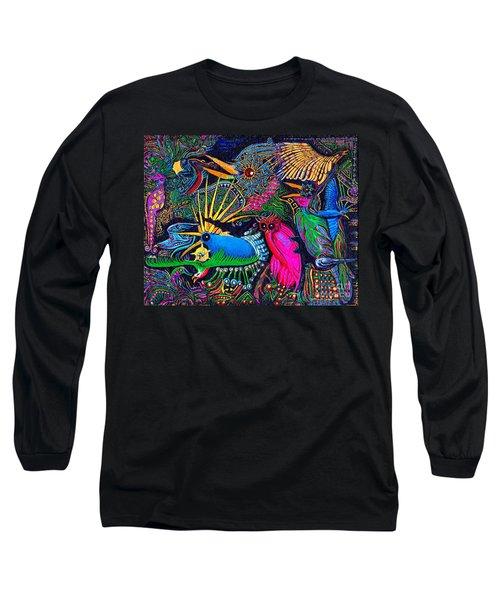 Long Sleeve T-Shirt featuring the painting Omen Birds by Peter Gumaer Ogden