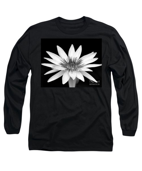 One Black And White Water Lily Long Sleeve T-Shirt