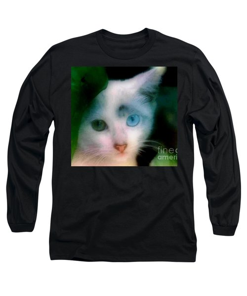 One Blue One Green Cat In New Olreans Long Sleeve T-Shirt