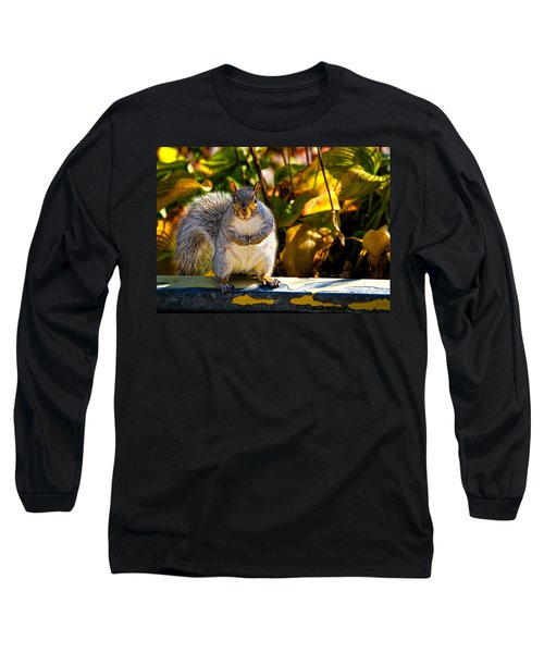 One Gray Squirrel Long Sleeve T-Shirt