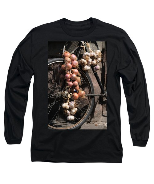 Onions And Garlic On Bike  Long Sleeve T-Shirt by Jeremy Voisey