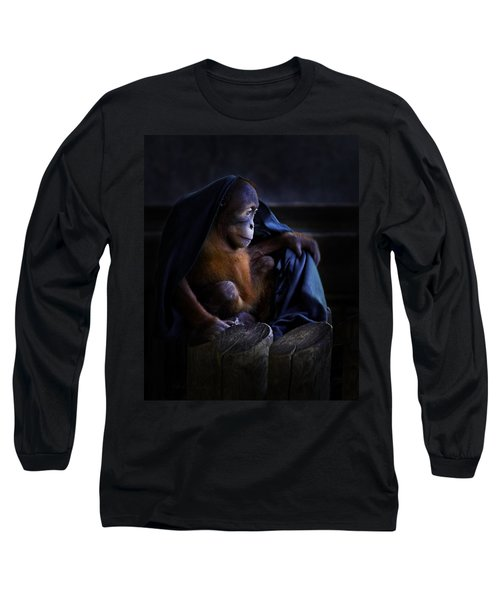 Orang Utan Youngster With Blanket Long Sleeve T-Shirt by Peter v Quenter