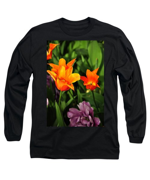 Orange Flowers Long Sleeve T-Shirt