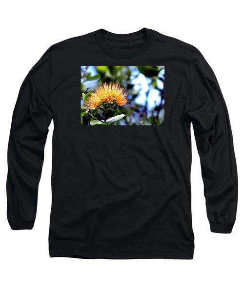 Orange Lehua On Volcano Ranch Long Sleeve T-Shirt by Lehua Pekelo-Stearns