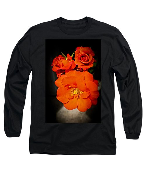 Long Sleeve T-Shirt featuring the photograph Orange Rose Trio by Joann Copeland-Paul