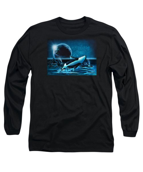 Orcas At Night Long Sleeve T-Shirt
