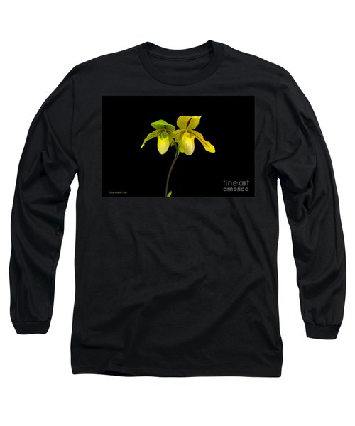 Orchid Paphiopedilum Druid Spring Long Sleeve T-Shirt by Susan Wiedmann
