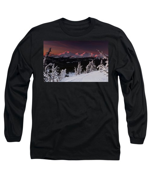 Oregon Cascades Winter Sunset Long Sleeve T-Shirt by Kevin Desrosiers