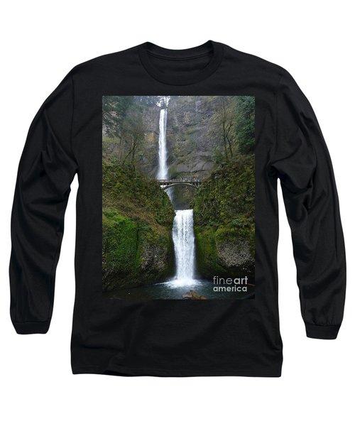 Oregon Long Shot Of  Falls Long Sleeve T-Shirt by Susan Garren