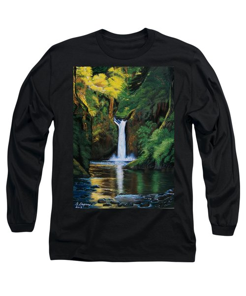 Oregon's Punchbowl Waterfalls Long Sleeve T-Shirt by Sharon Duguay