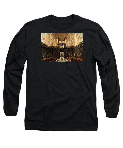 Organ And Choir - King's College Chapel Long Sleeve T-Shirt by Stephen Stookey