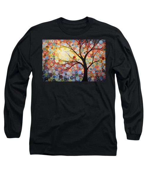Long Sleeve T-Shirt featuring the painting Original Painting Print Titled Celestial Sunset by Amy Giacomelli