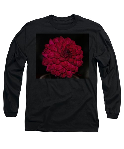 Ornate Red Dahlia Long Sleeve T-Shirt