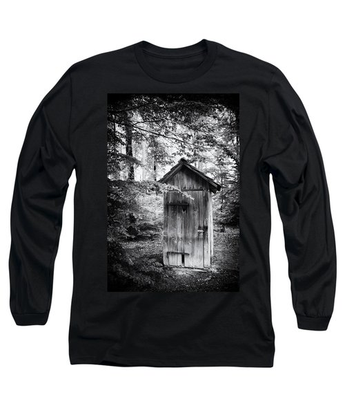 Outhouse In The Forest Black And White Long Sleeve T-Shirt