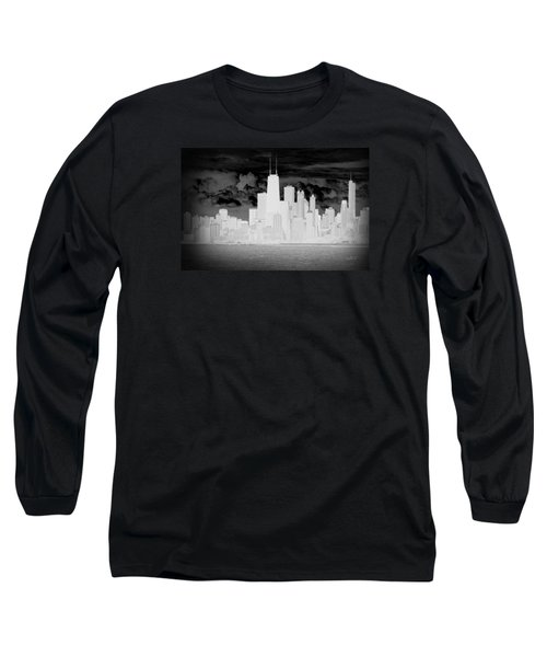 Outline Of Chicago Long Sleeve T-Shirt by Milena Ilieva