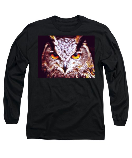 Long Sleeve T-Shirt featuring the digital art Owl - Fractal by Lilia D