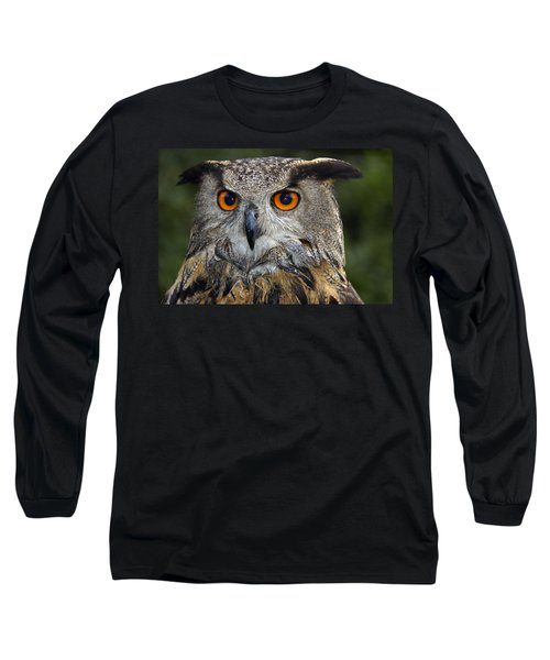 Owl Bubo Bubo Portrait Long Sleeve T-Shirt